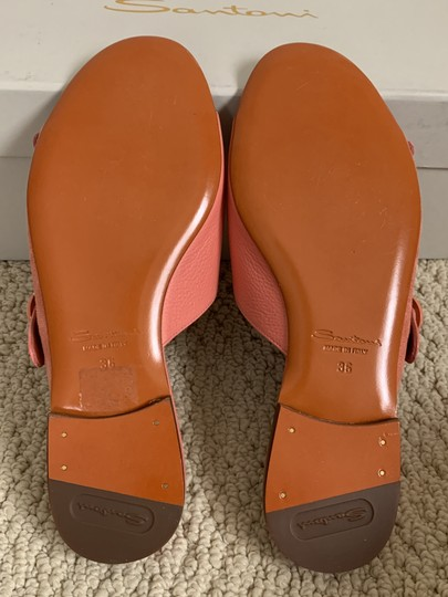 Santoni Leather Suede Open Toe Buckle Pink Sandals Image 6