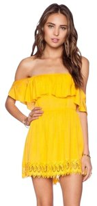 Lovers + Friends short dress Yellow Lace Trim Lace Gold Revolve Shopbop on Tradesy
