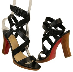 Christian Louboutin Wooden Heels Strappy Ankle Strap Black Sandals
