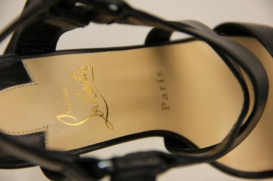 Christian Louboutin Wooden Heels Strappy Ankle Strap Black Sandals Image 5