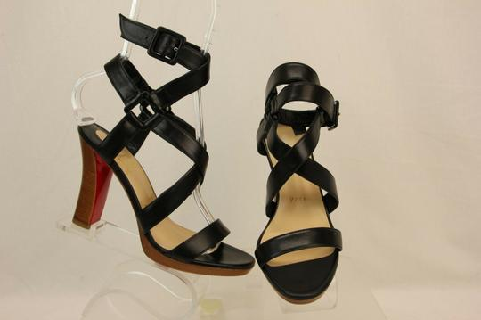 Christian Louboutin Wooden Heels Strappy Ankle Strap Black Sandals Image 8
