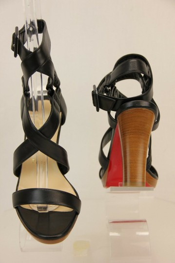 Christian Louboutin Wooden Heels Strappy Ankle Strap Black Sandals Image 9