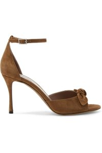 Tabitha Simmons Suede Open Toe Ankle Strap Pumps Brown Sandals