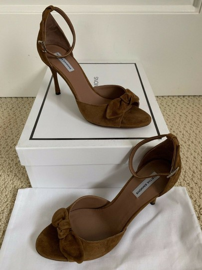Tabitha Simmons Suede Open Toe Ankle Strap Pumps Brown Sandals Image 1