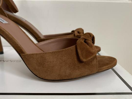 Tabitha Simmons Suede Open Toe Ankle Strap Pumps Brown Sandals Image 10