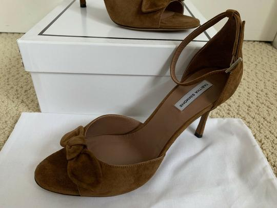 Tabitha Simmons Suede Open Toe Ankle Strap Pumps Brown Sandals Image 11