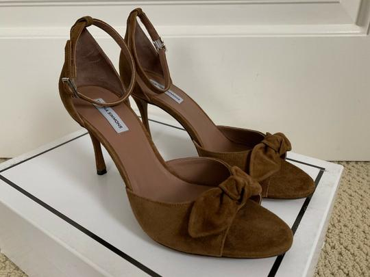 Tabitha Simmons Suede Open Toe Ankle Strap Pumps Brown Sandals Image 2