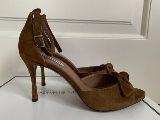 Tabitha Simmons Suede Open Toe Ankle Strap Pumps Brown Sandals Image 3