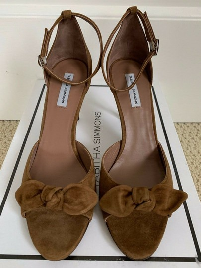 Tabitha Simmons Suede Open Toe Ankle Strap Pumps Brown Sandals Image 4
