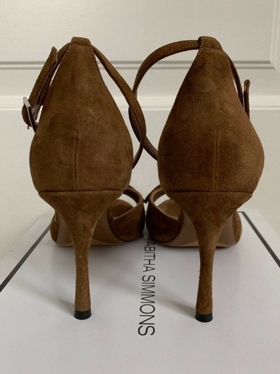 Tabitha Simmons Suede Open Toe Ankle Strap Pumps Brown Sandals Image 6