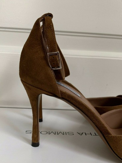 Tabitha Simmons Suede Open Toe Ankle Strap Pumps Brown Sandals Image 9