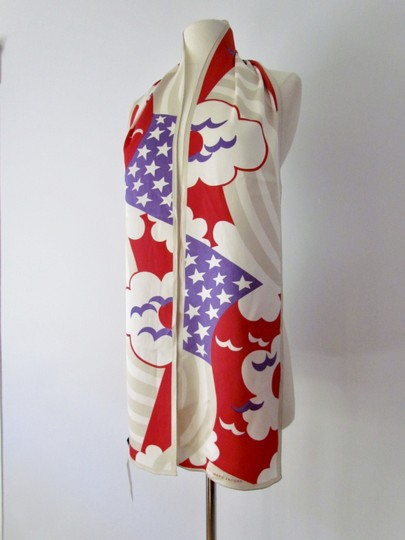 Marc Jacobs RARE Marc Jacobs XXL Silk Scarf Red White Blue Birds Geometric Abstrac Image 1