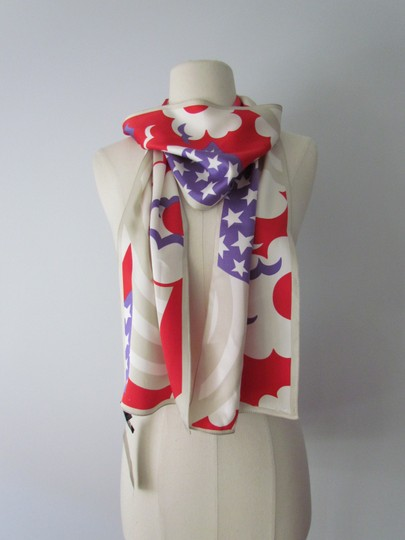 Marc Jacobs RARE Marc Jacobs XXL Silk Scarf Red White Blue Birds Geometric Abstrac Image 2