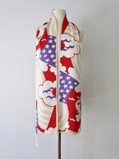 Marc Jacobs RARE Marc Jacobs XXL Silk Scarf Red White Blue Birds Geometric Abstrac Image 3