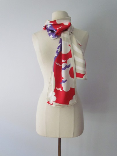 Marc Jacobs RARE Marc Jacobs XXL Silk Scarf Red White Blue Birds Geometric Abstrac Image 5