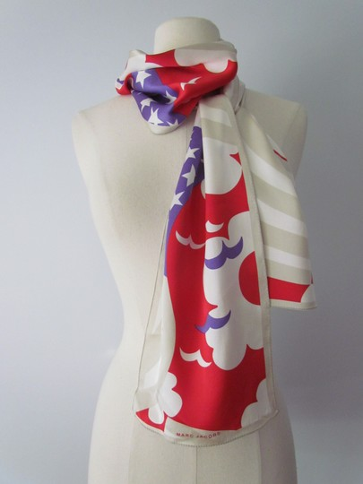 Marc Jacobs RARE Marc Jacobs XXL Silk Scarf Red White Blue Birds Geometric Abstrac Image 8
