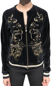 Escada Escada Black Velour Jacket with Gold and Crystals