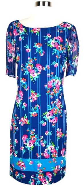 Preload https://img-static.tradesy.com/item/25600271/karl-lagerfeld-blue-floral-shift-short-casual-dress-size-8-m-0-1-650-650.jpg