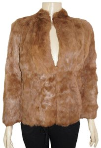 unknown Rabbit Fur Brown Leather Jacket