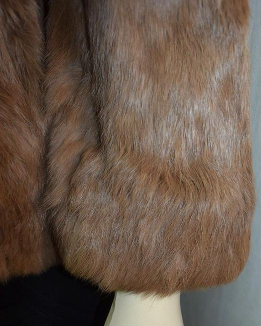 unknown Rabbit Fur Brown Leather Jacket Image 1