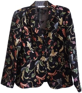 Erin London Dark Floral Suit Jacket Hip Length Black/Multi Blazer
