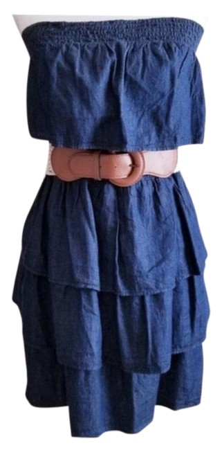 Preload https://img-static.tradesy.com/item/25600430/dollhouse-denim-blue-strapless-with-ruffles-short-casual-dress-size-8-m-0-1-650-650.jpg