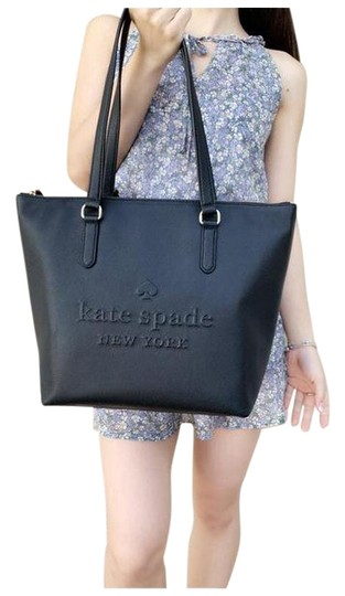 Preload https://img-static.tradesy.com/item/25600449/kate-spade-larchmont-avenue-logo-penny-leather-top-zip-black-tote-0-1-540-540.jpg