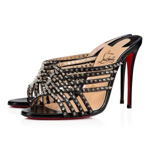 Christian Louboutin Strappy Spiked Studded Mules Black Sandals