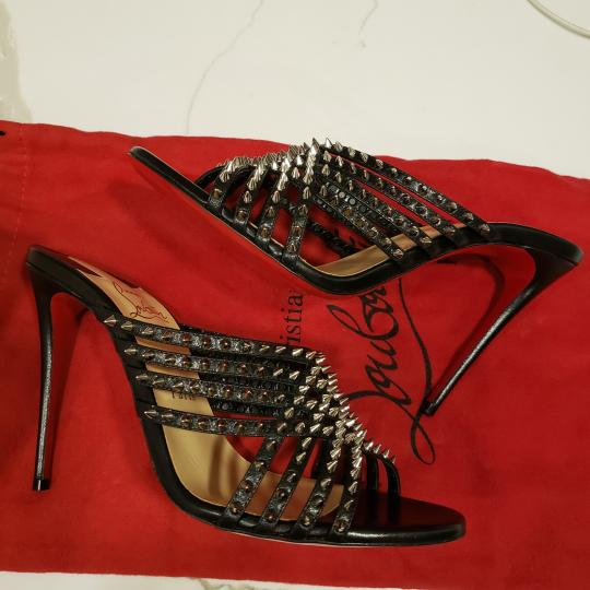 Christian Louboutin Strappy Spiked Studded Mules Black Sandals Image 10