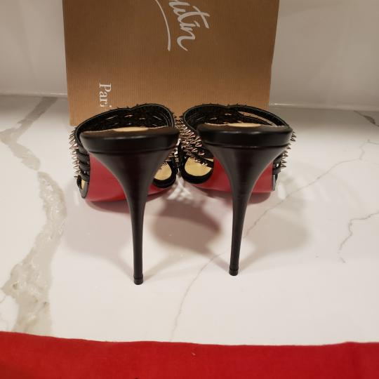 Christian Louboutin Strappy Spiked Studded Mules Black Sandals Image 3