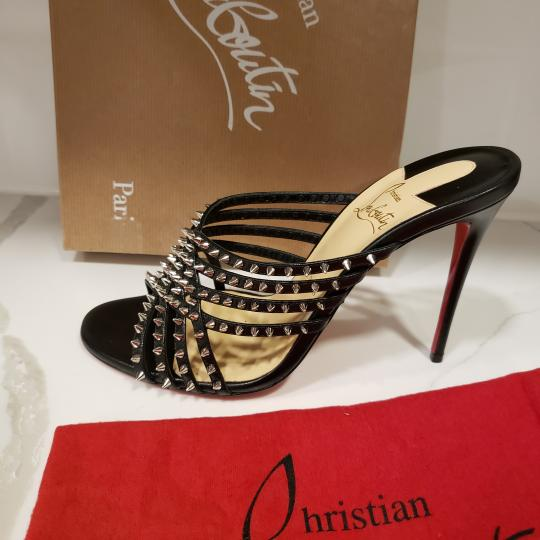 Christian Louboutin Strappy Spiked Studded Mules Black Sandals Image 6