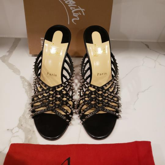 Christian Louboutin Strappy Spiked Studded Mules Black Sandals Image 8