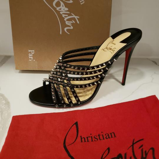 Christian Louboutin Strappy Spiked Studded Mules Black Sandals Image 9