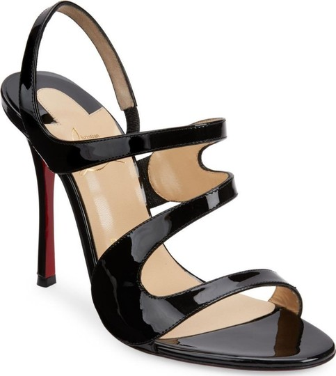 Christian Louboutin Wedding Patent Leather Sling Black Sandals Image 1