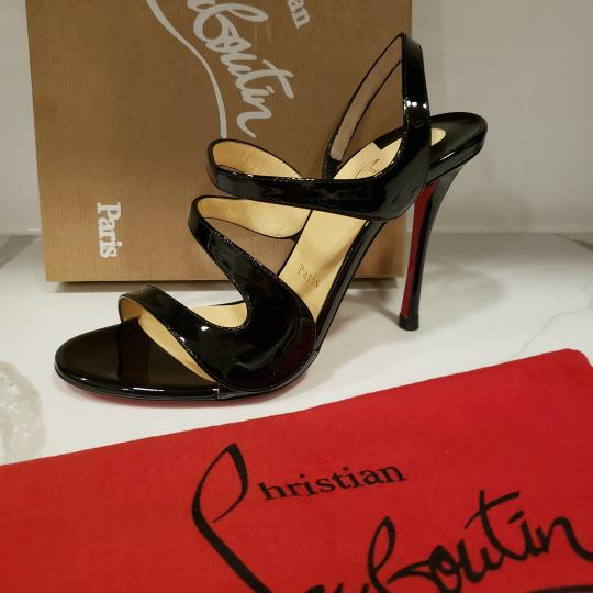 Christian Louboutin Wedding Patent Leather Sling Black Sandals Image 10