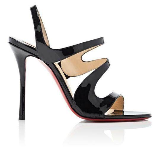 Christian Louboutin Wedding Patent Leather Sling Black Sandals Image 2