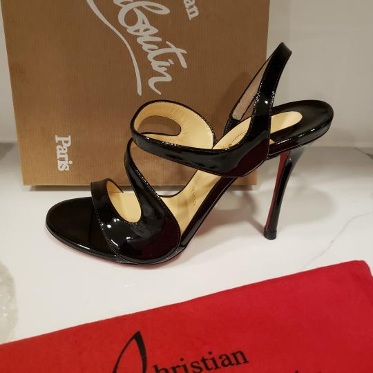 Christian Louboutin Wedding Patent Leather Sling Black Sandals Image 4