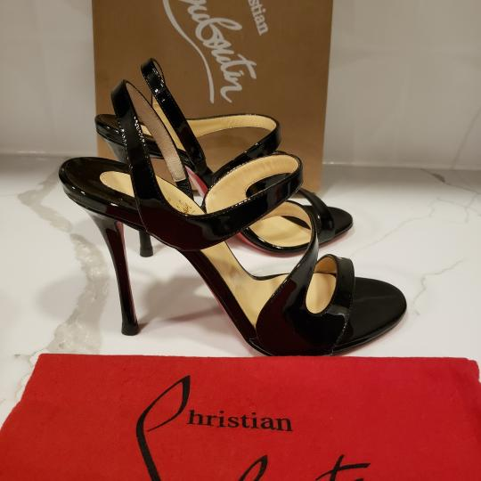 Christian Louboutin Wedding Patent Leather Sling Black Sandals Image 8