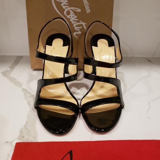 Christian Louboutin Wedding Patent Leather Sling Black Sandals Image 9