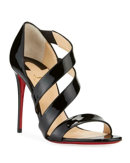 Christian Louboutin Asymmetric Open Toe Strappy Black Sandals Image 1