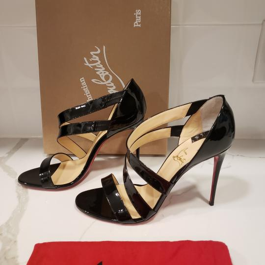 Christian Louboutin Asymmetric Open Toe Strappy Black Sandals Image 3