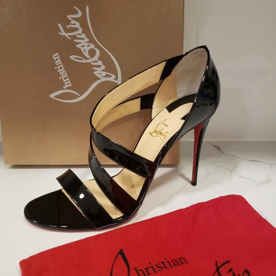 Christian Louboutin Asymmetric Open Toe Strappy Black Sandals Image 7