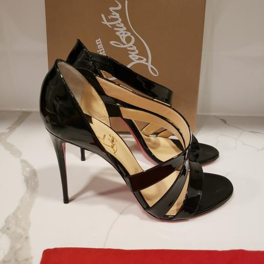 Christian Louboutin Asymmetric Open Toe Strappy Black Sandals Image 8