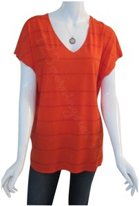 Chaus Crystals At Front V-neck Cap Sleeves Straight Hem Relaxed Silhouette Top Orange