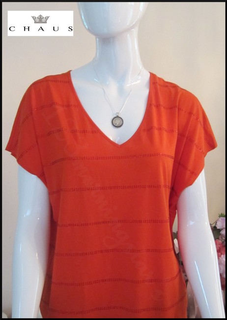 Chaus Crystals At Front V-neck Cap Sleeves Straight Hem Relaxed Silhouette Top Manderin Image 1