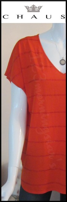 Chaus Crystals At Front V-neck Cap Sleeves Straight Hem Relaxed Silhouette Top Manderin Image 2