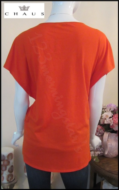 Chaus Crystals At Front V-neck Cap Sleeves Straight Hem Relaxed Silhouette Top Manderin Image 8