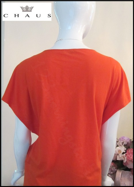 Chaus Crystals At Front V-neck Cap Sleeves Straight Hem Relaxed Silhouette Top Manderin Image 9