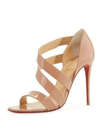 Christian Louboutin Asymmetric Open Toe Strappy Nude Sandals Image 1