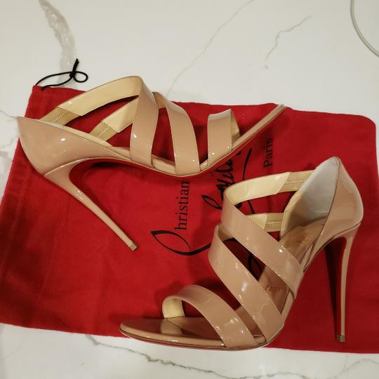 Christian Louboutin Asymmetric Open Toe Strappy Nude Sandals Image 2